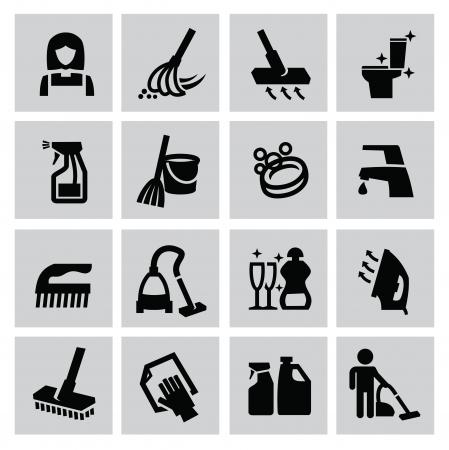 cleaning equipment: Icone vettoriali di pulizia nero impostate su grigio