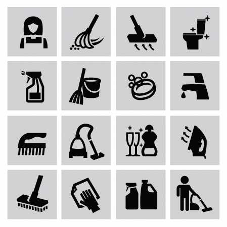 vector black cleaning icons set on gray Illustration