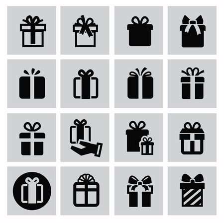give a gift: vector black gift icon set on gray