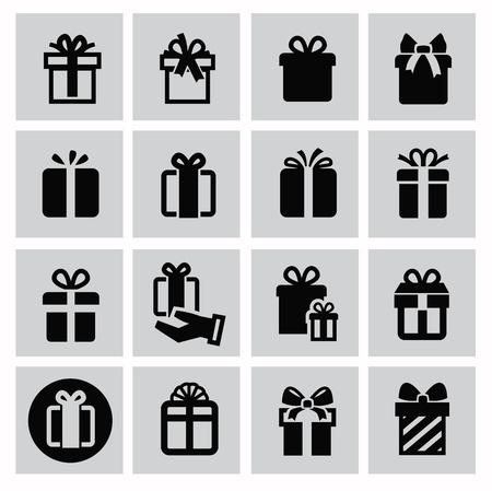 vector black gift icon set on gray Vector Illustration