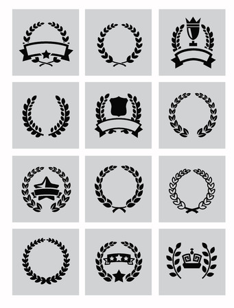 vector black laurel wreaths icon set on gray Vector