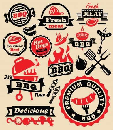 Vecteur de couleur barbecue icônes de parti Jeu grilles