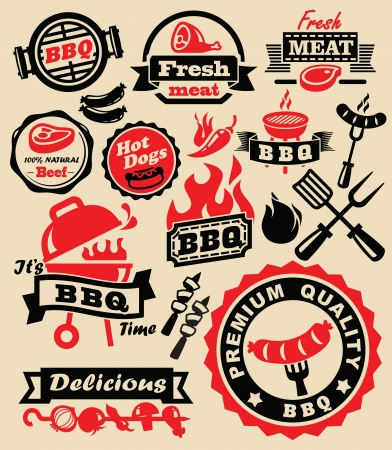 vector color barbecue grill party icons set Çizim