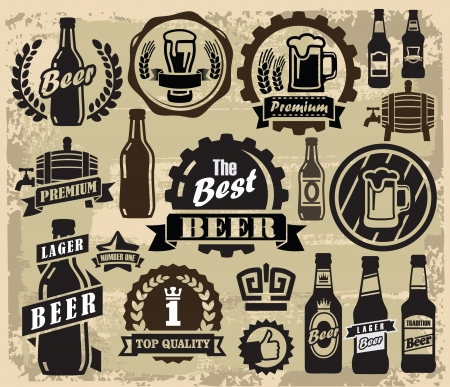 beer drinking: vector color beer pub labels icons set