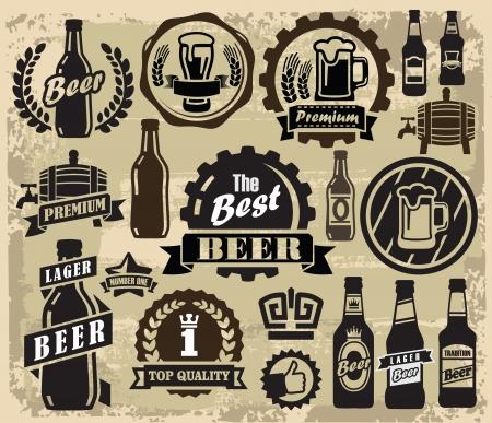 cerveza: vector de color de la cerveza pub etiquetas iconos conjunto Vectores
