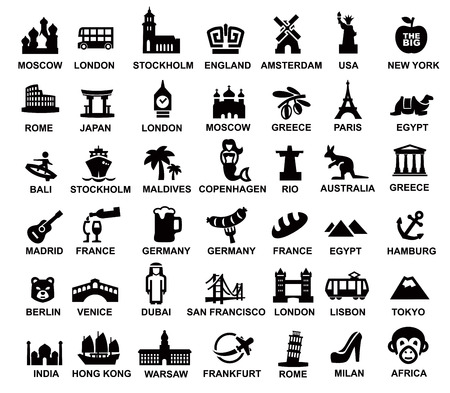 vecteur voyage noir et monuments icons set