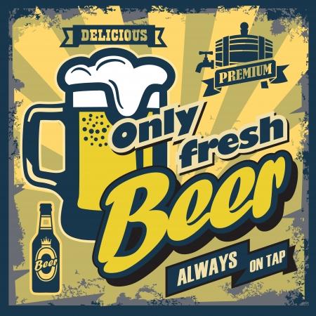 letrero: Color vector signo cerveza del vintage o póster