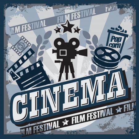 hollywood movie: vector color vintage cinema sign or poster