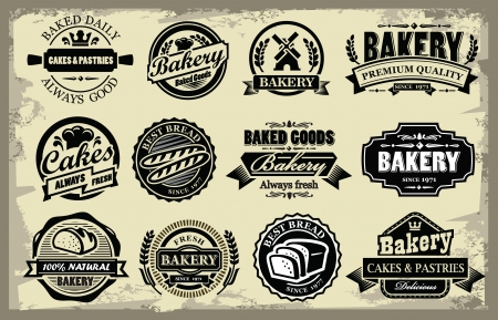vector organic bakery labels set on grunge Stock Vector - 22698166