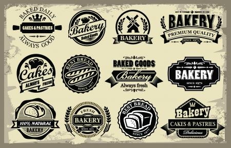 bakery: vector organic bakery labels set on grunge