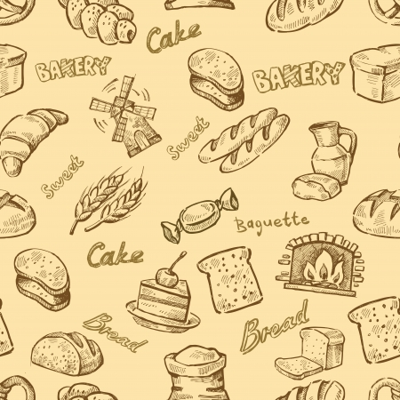 vector hand drawn bakery icons set on beige Vector