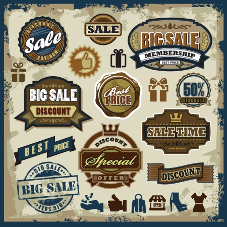 vector sale labels set, badges and icons Vector