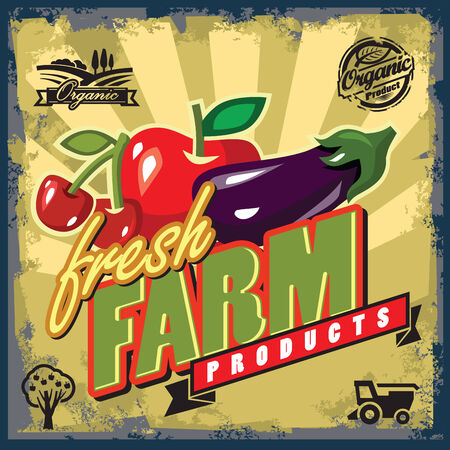 vector color vintage fresh farm sign or poster Vector