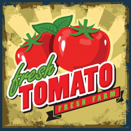 healty lifestyle: vector color vintage tomato sign or poster Illustration