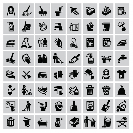 escoba: iconos vectoriales de limpieza conjunto negro sobre fondo gris