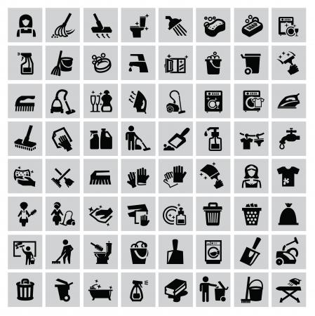 Vecteur noir icônes de nettoyage fixés sur le gris Banque d'images - 22866294
