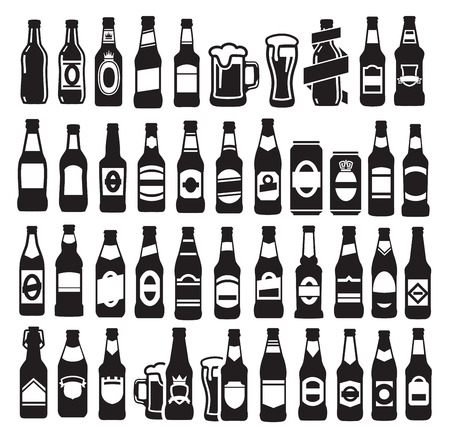beer icons: vector black beer bottles icons set on white
