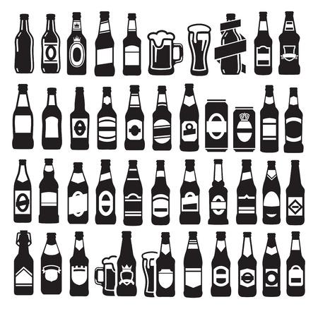 pakiety: wektorowe ikony czarnych butelek piwa ustawiony na białym