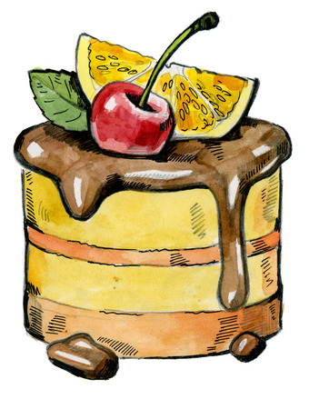 fruit cake: watercolor hand drawn picture of fruit cake