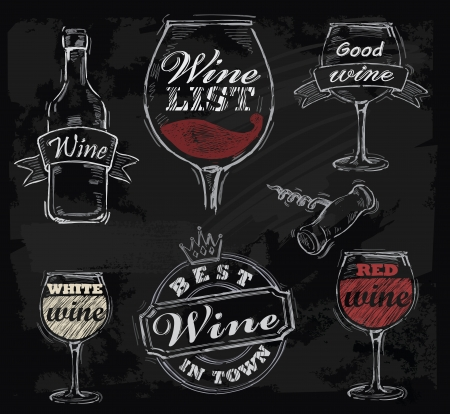 와인: 벡터 분필 와인 칠판 배경에 설정
