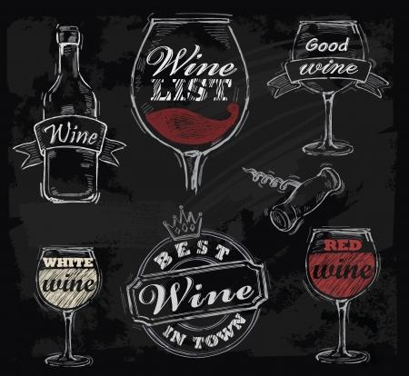 vinho: vetor vinho giz ajustado no fundo negro