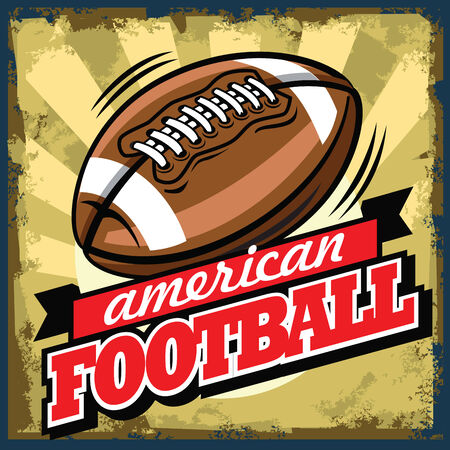 american football background: vector color vintage american football sign or poster