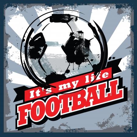 vintage: Vektor Farbe vintage Fußball Schild oder Plakat