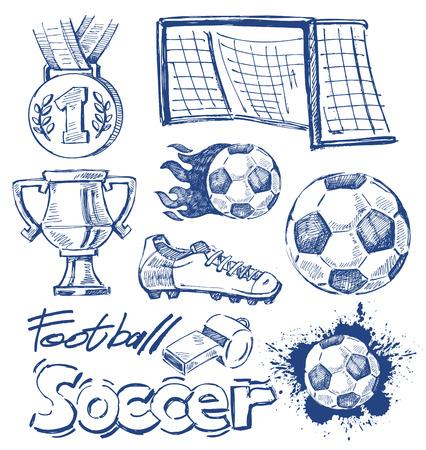 vector blauw voetbal pictogram ingesteld op wit Stock Illustratie