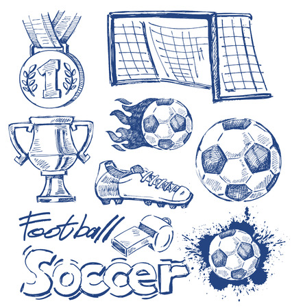 vector blue soccer icon set on white Illustration