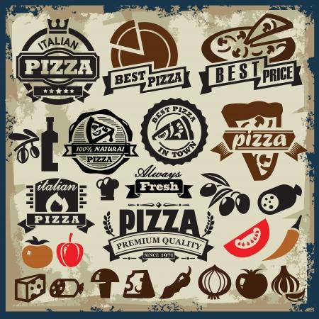 pizza: Color vector signo de pizza de �poca o autor