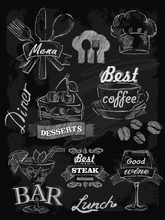 menu: vector chalk menu set on chalkboard background