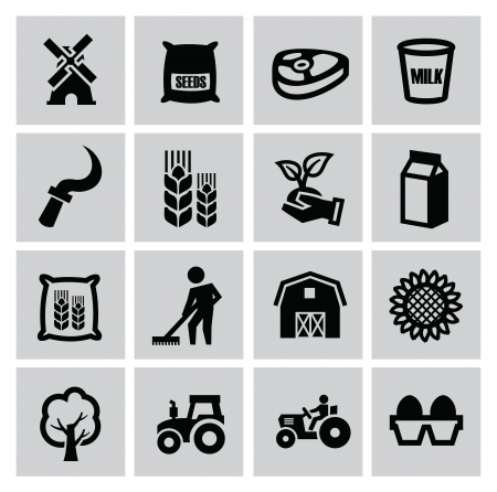 vector black agriculture and farming icons set Vector