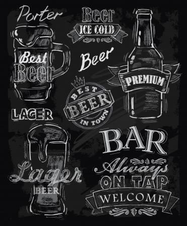 chalkboard: vector chalk beer on chalkboard background