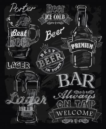 cerveza: vector tiza cerveza en el fondo pizarra Vectores