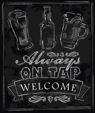chalkboard: vecteur craie bière sur fond de tableau noir