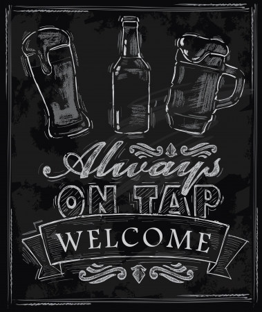 vector chalk beer on chalkboard background Vector