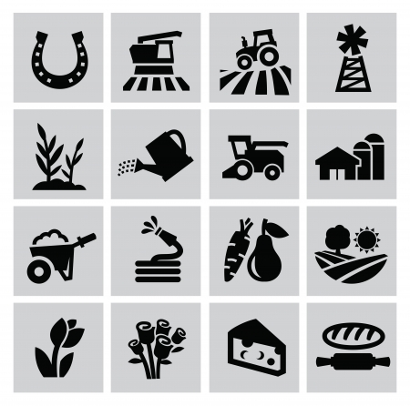 vector black agriculture and farming icons set Stock Vector - 22866333