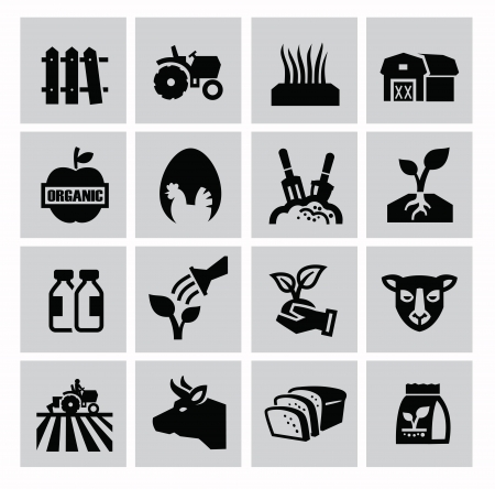 food industry: vector black agriculture and farming icons set Illustration