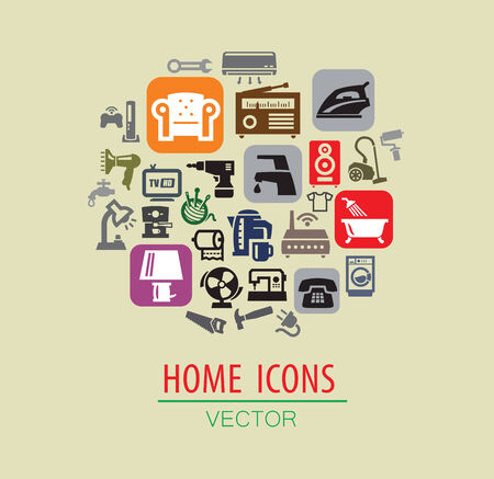 vector color home icon set on beige Stock Vector - 22866336