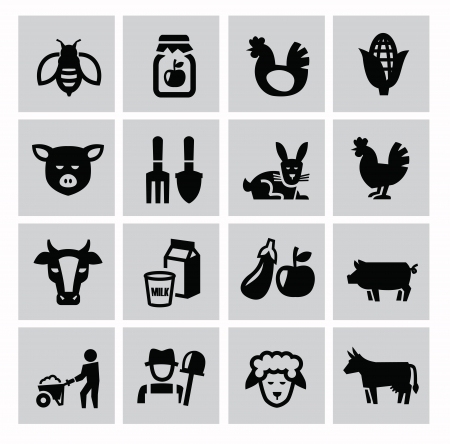 cultivating: vector black agriculture and farming icons set Illustration