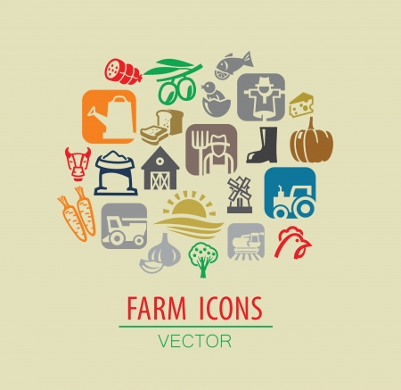 vector color farm icon set on beige Vector