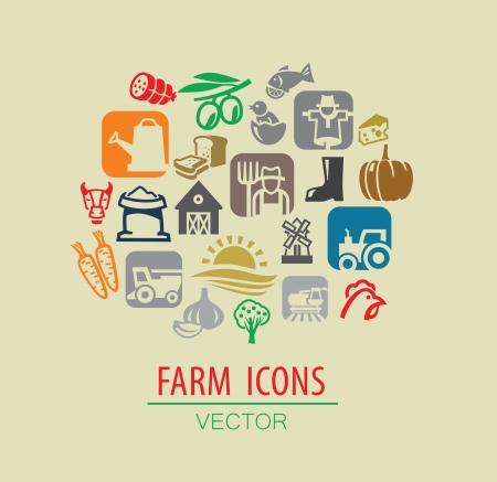 combining: vector color farm icon set on beige