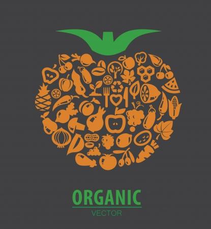 Illustration de couleur de fruits et légumes bio icônes Vecteurs
