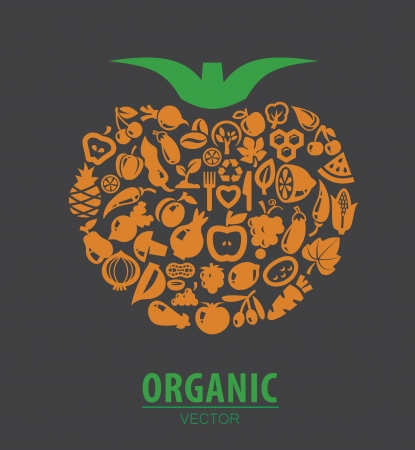 health food store: vector color organic vegetables and fruits icons