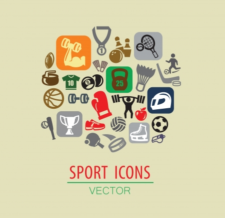 vector color sport icon set on beige Vector