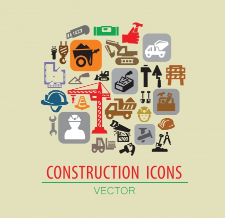 vector color construction icon set on beige Vector
