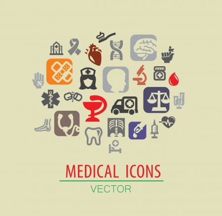 vector color medical icon set on beige Vector