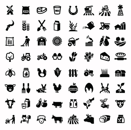 vector black agriculture and farming icons set Иллюстрация