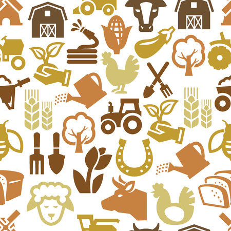 corn fields: vector color agriculture and farming icons set