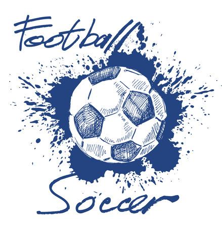 vector blauw voetbal pictogram op witte achtergrond